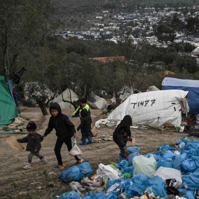 Barn i lägret Moria på ön Lesbos i Grekland 21.1.2020