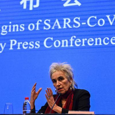 Marion Koopmans talar under WHO.s presskonferens om coronaviruset 9.2.2021