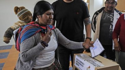 Presidentval i Bolivia. Vallokal i La Paz 20.10. 2019