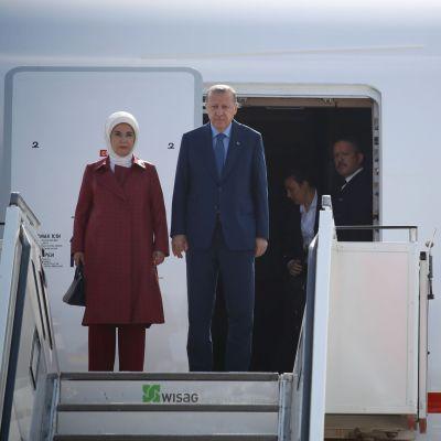 Emine och Recep Tayyip Erdogan anländer till Tegel den 27 september 2018.