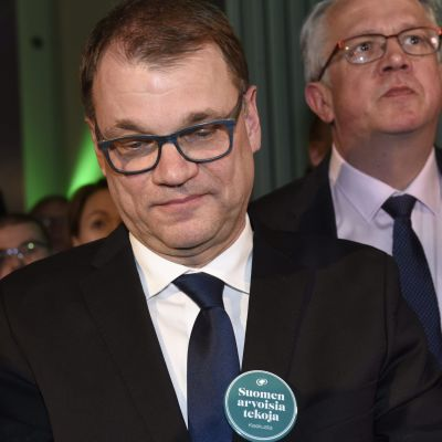 Centerns partiordförande Juha Sipilä vid Centerns valvaka, riksdagsvalet 2019.