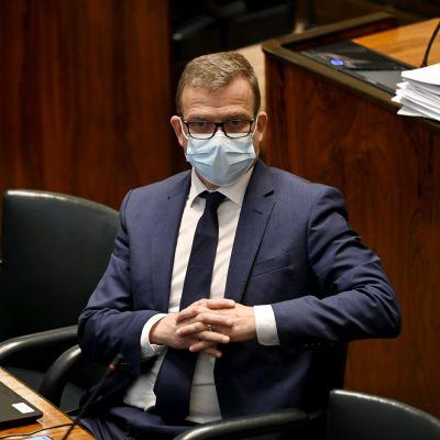 Kokoomuksen puheenjohtaja Petteri Orpo eduskunnan täysistunnossa Helsingissä 18. toukokuuta 2021.