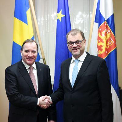 Statsministrarna Stefan Löfven och Juha SIpilä.