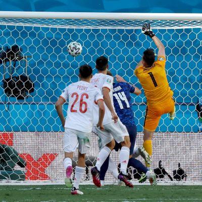 Dubravka gjorde självmål mot Spanien.