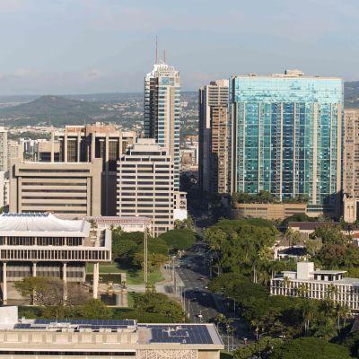 Vy över staden Honolulu på Hawaii