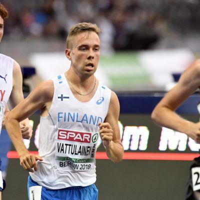 Arttu Vattulainen på 10 000 meter vid EM i Berlin 2018.