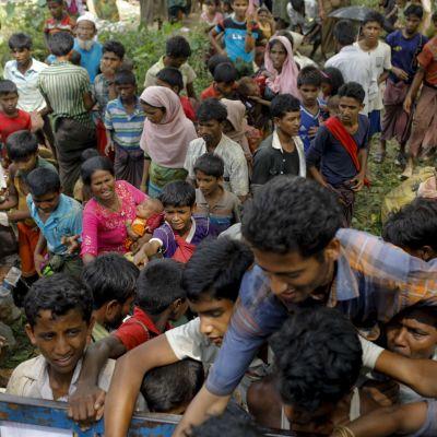Nyanlända rohingya-flyktingar i staden Teknaf, i sydöstra Bangladesh, 7.9.2017.