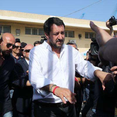Italiens inrikesminister Matteo Salvini besökte en mottagningscentral för flyktingar och migranter i Pozzallo, Sicilien den 3.6.