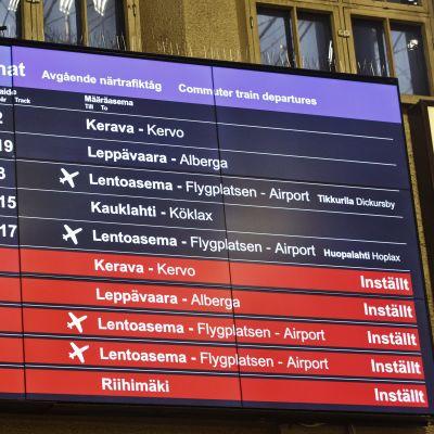Inställda tåg i Helsingfors