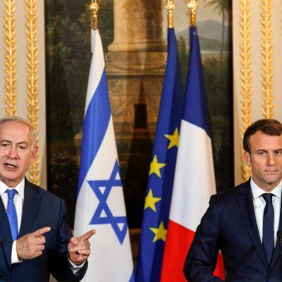 Benjamin Netanyahu och Emmanuel Macron