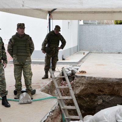 Desarmering av bomb i Thessaloniki.