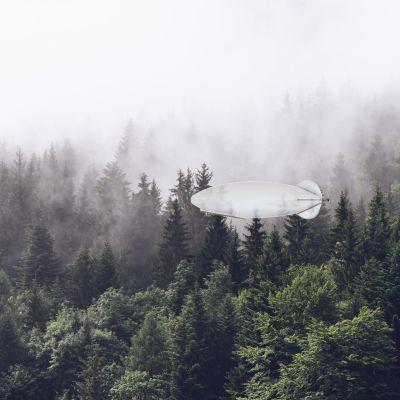 Noin viisi metriä pitkä ilmalaiva lentää metsän yllä.