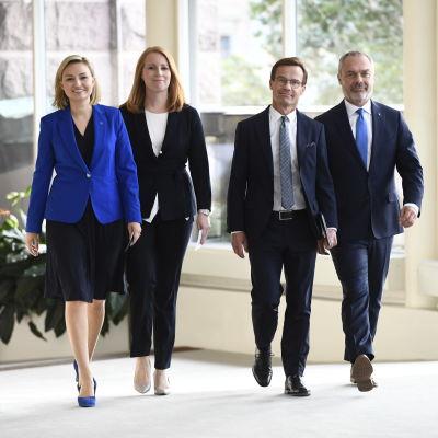 Alliansledarna Ebba Bush Thor (KD), Annie Lööf (C), Ulf Kristersson (M) och Jan Björklund (L).