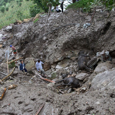 Jordskred i Nepal 30 juli 2015.