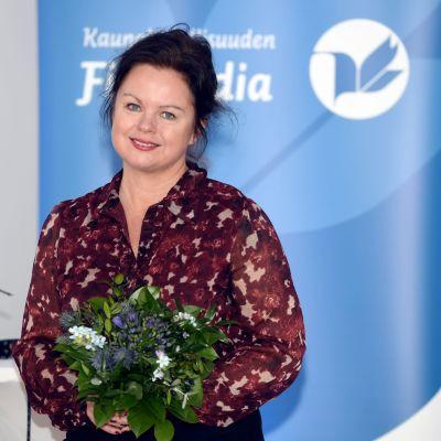 Ann-Luise Bertell på Finlandianomineringstillfället 2020.