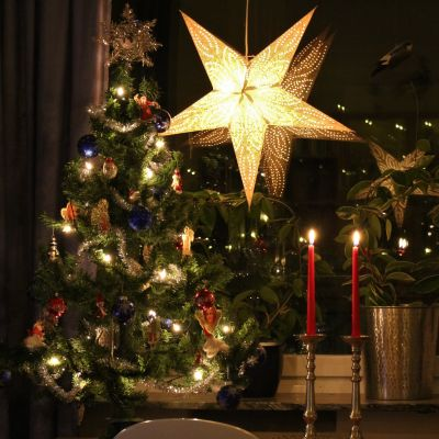 Julstjärna i fönster, julgran, två röda stearinljus och ett skrivbord. Stämningsbild. Skymning.