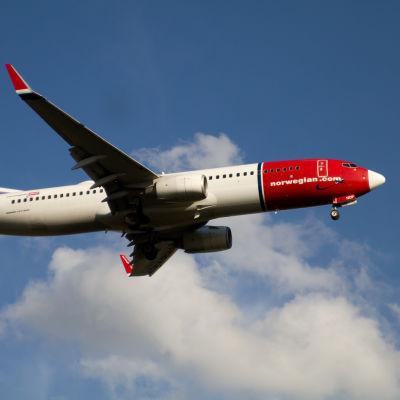Norwegians Boeing 737 på väg att landa på Helsingfors-Vanda flygplats (arkivbild)