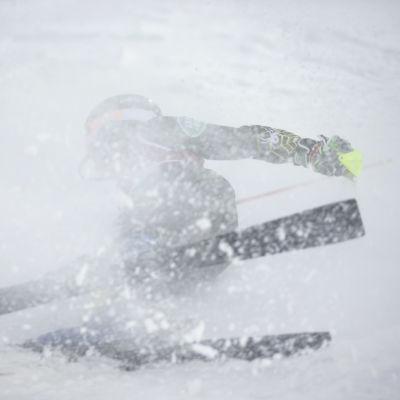 Slalomåkare faller.