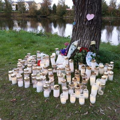 Gravljus och blommor placerade vid trädstam. I bakgrunden en spegelblank å.