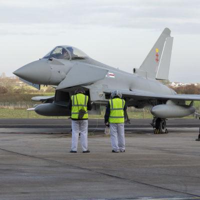 Eurofighter Typhoo -hävittäjä Wartonissa Englannissa.