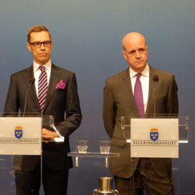 Statsministrarna Alexander Stubb och Fredrik Reinfeldt i Stockholm.