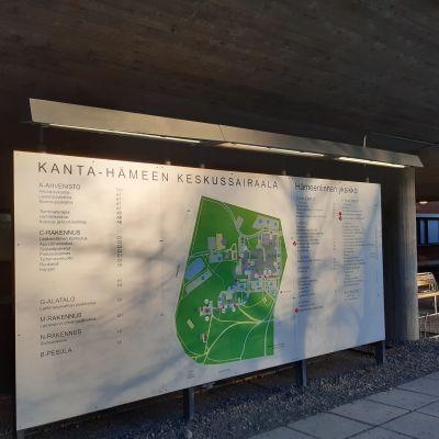 Karttakuva keskussairaalan alueesta.