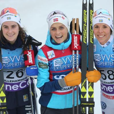 Ebba Andersson, Therese Johaug och Charlotte Kalla.