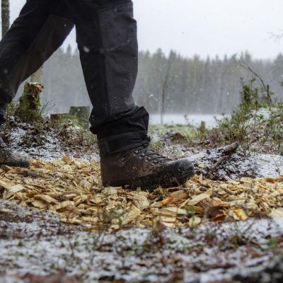 Pyry Rinkisen jalat haketetulla polulla Vuoreksen Koukkujärvellä