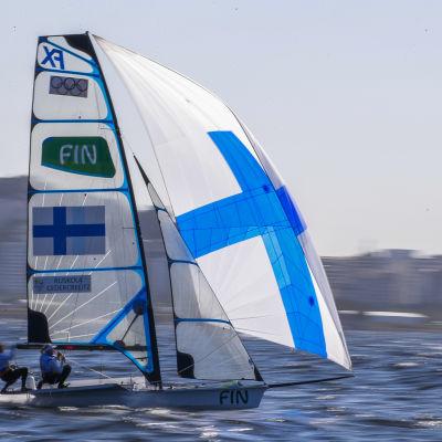 Camilla Cedercreutz och Noora Ruskola seglar hyfsat i Riovattnen.
