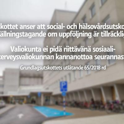 Bild på Vasa centralsjukhus med text på.