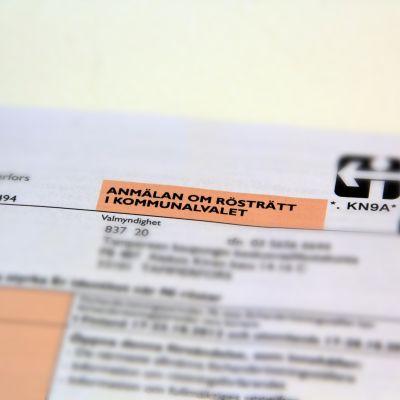 Anmälan om rösträtt.
