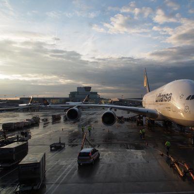 Lufthansas flygplan på flygfält