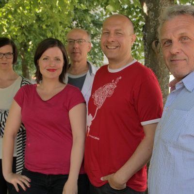 Juryn för Vegapriset 2013. Micaela Röman, Eva Frantz, Hans-Åke Manelius, Hippi Hovi och Benny Törnroos.