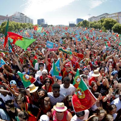 Det var full fest i Portugal efter finalsegern.