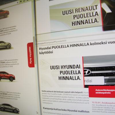 Bilreklam på nätet som lovar en bil till halva priset
