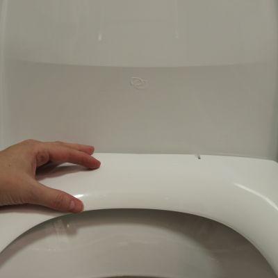 En hand vilar på toalettstolen.