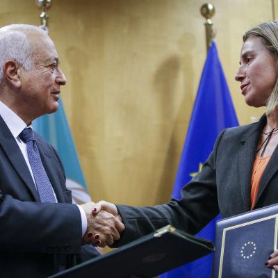 EU:s utrikesrepresentant Mogherini skakar hand med Arabförbundets representant Nabil Elaraby i Bryssel 19.1.2015