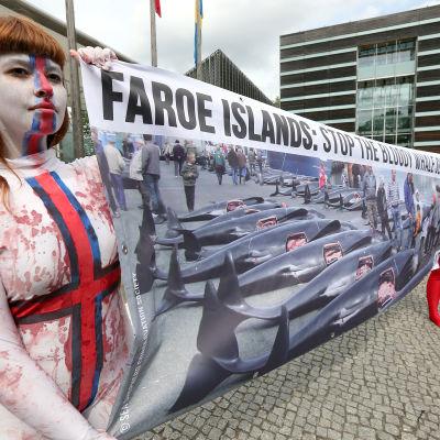 Aktivister demonstrerar mot valjakt
