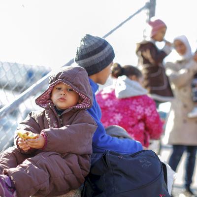 Flyktingar som anlänt med färja till Göteborg.