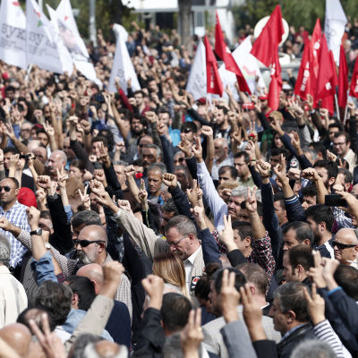 Storprotest efter terrordåd i Ankara, Turkiet.