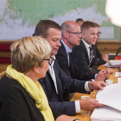 Finansministeriets budgetöverläggningar i Esbo den 10 augusti 2016.