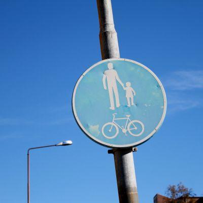 Cykel- och gångbana skylt