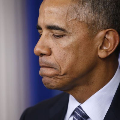USA:s president Barack Obama vid presskonferens i Vita huset den 14 november 2016.