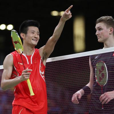 Long Chen och Viktor Axelsen spelade i fredagens semifinal. På lördagen vann Long Chen finalen och Axelsen bronsmatchen.