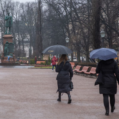 Ihmisiä kävelee sateenvarjojen kanssa sateisessa Esplanadin puistossa.