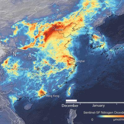 Satelliittidataa typpioksidipäästöistä Kiinassa.