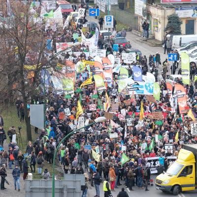 Demonstration under klimatkonferensen i Katowice (pro-klimat).