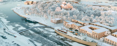 En blick från ovan av Åbo slott. En modell av kommande arbete.