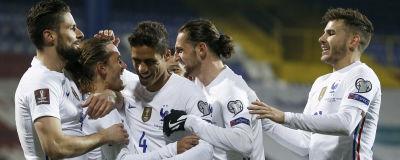 Frankrikes herrlandslag jublar under en match.