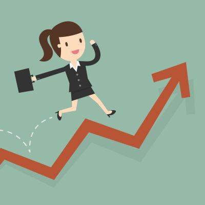 En illustration av en kvinna med portfölj som glatt springer upp för en pil som visar på högkonjunktur.